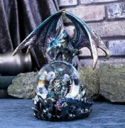 Blue Mother and Baby Dragon Snowglobe Figurine Statue Fantasy Ornament
